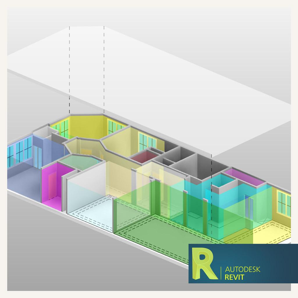 تفکیک سه بعدی فضا در Revit